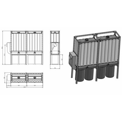 FJ 18 -2 modulos filteres elszívó textil gyűjtőzsákkal