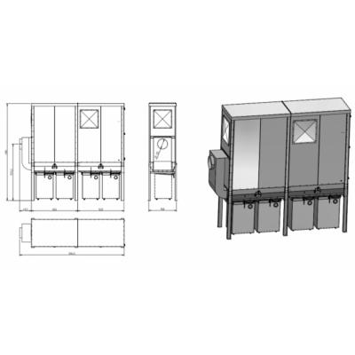 FJ 18 -2BO modulos filteres elszívó fém gyűjtő konténerrel, akár kültérre is