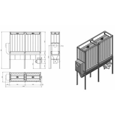 FJ 18 -2S részes filteres elszívó szállítószalag rendszerrel, belső telepítésre