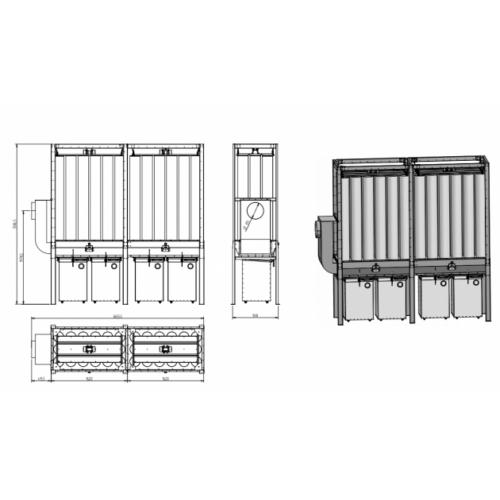 FJ 18 -2 részes filteres elszívó fém gyűjtő konténerrel, belső telepítésre